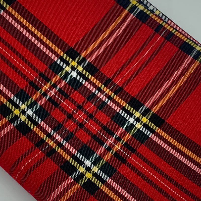 POLYVISCOSE TARTAN SOLD BY THE METER - Red Fabric | Natasha Makes