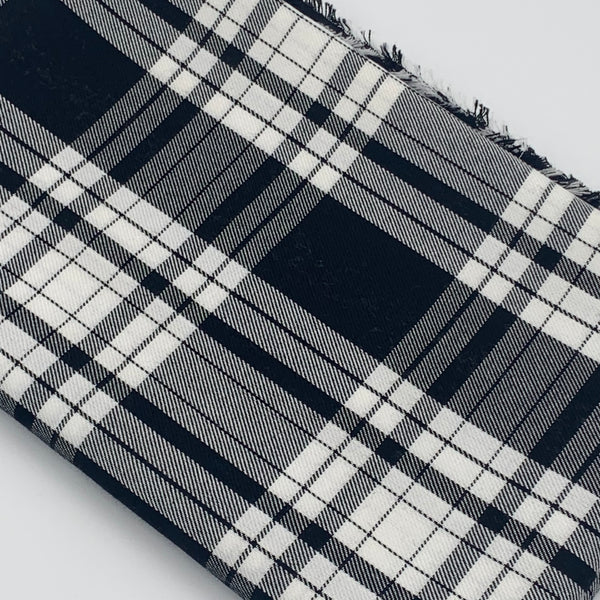 POLYVISCOSE TARTAN SOLD BY THE METER - Black and White Fabric | Natasha Makes