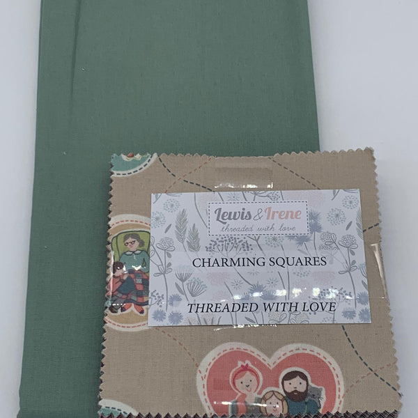 Lewis & Irene Charm Pack with FREE Coordinating Half Metre: Threaded with Love with Misty Blue Solid
