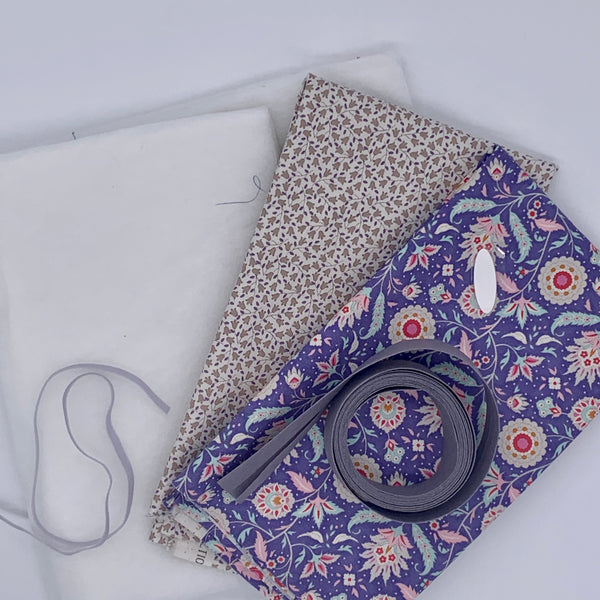Quilted Tablet Pouch Kit - Tilda Purple Kit | Natasha Makes