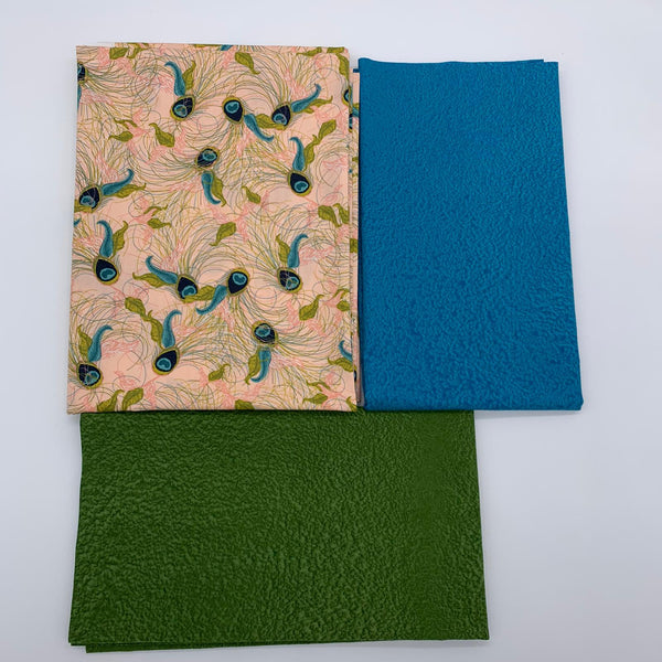 Catherine Wheel Mini Quilt Kit - Green Peacock Feathers with Turquoise & Green