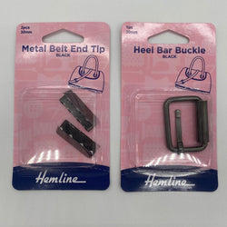 Metal Belt End Tips & Heel Bar Buckle Duo: Black: 30mm