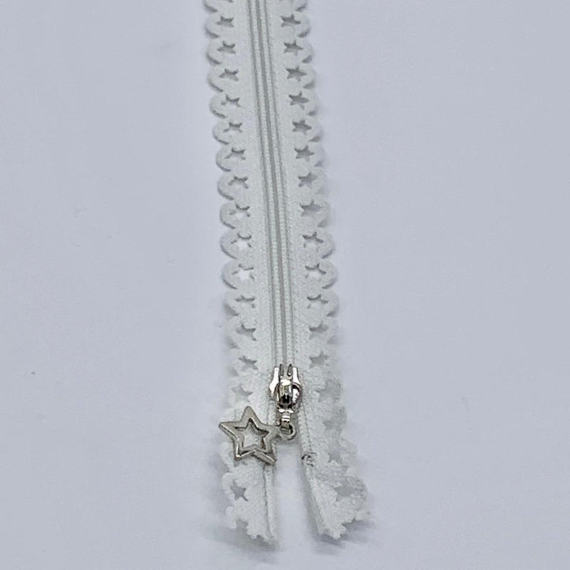 Lace Zip with Star Detail 25cm - White