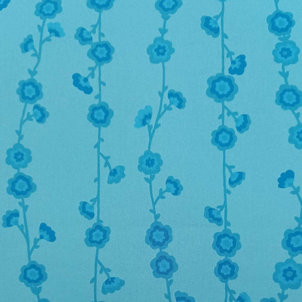 Valori Wells 'Flower Vine' Fabric in Blue: 2m Precut Length, Suitable for Quilt Backing