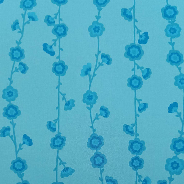 Valori Wells 'Flower Vine' Fabric in Blue: 3m Precut Length, Suitable for Quilt Backing