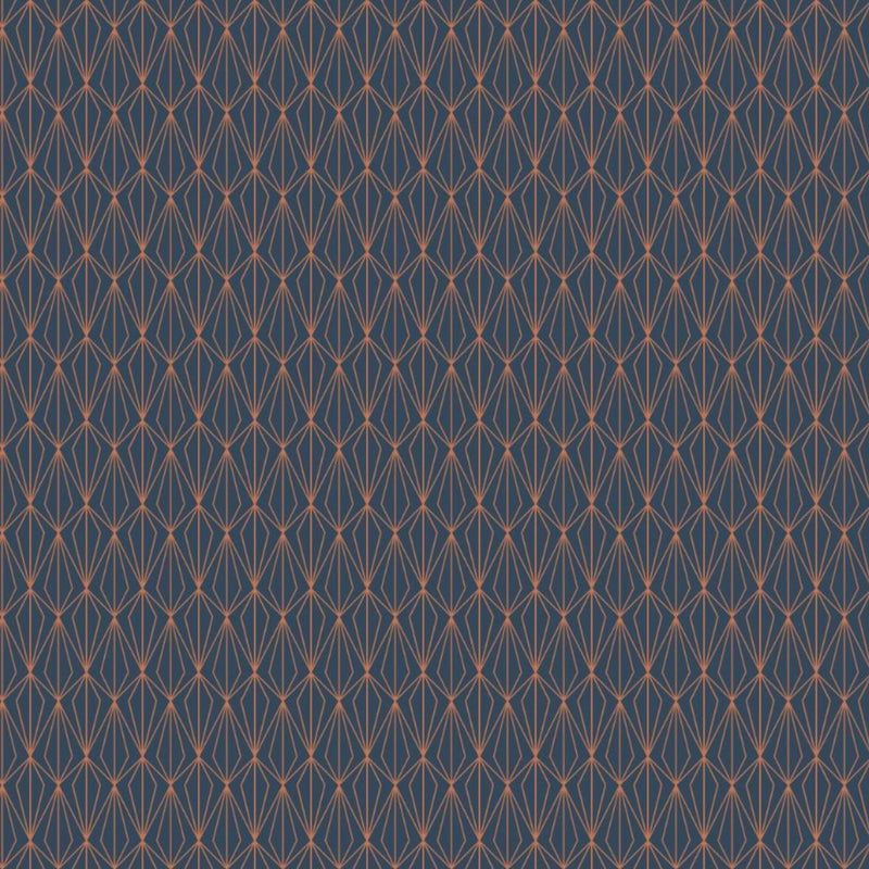 Lewis & Irene 'Copper Geometric on Navy': Cut To Order: By the 1/2m