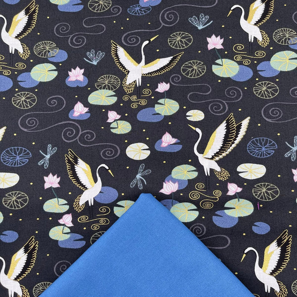 Half Metre Heaven: Lewis & Irene 'Heron Lake' on Black with Cadet Blue