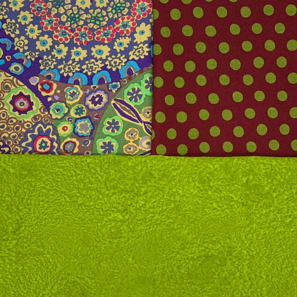 Fusion Friday: Kaffe Fassett Collective 'Millefiore' Ochre and 'Spot' Burgundy with Spring Green Salt Batik