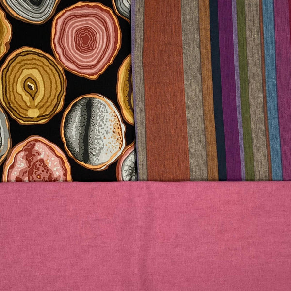 Fusion Friday: Kaffe Fassett Collective 'Woven Stripes' Roman and 'Geodes' Charcoal with Rose