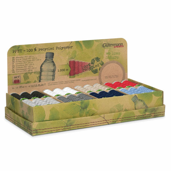 Gutermann Thread Set: Sew-All: Recycled (rPET): 48 x 100m: Assorted