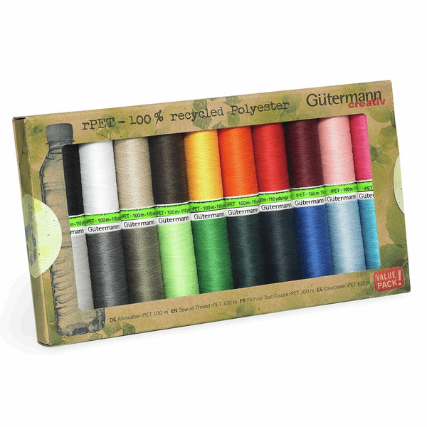 Gutermann Thread Set: Sew-All: Recycled (rPET): 20 x 100m: Assorted