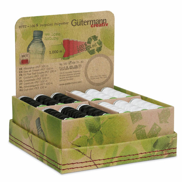 Gutermann Boxed Thread Set: Sew-All: Recycled (rPET): 24 x 100m: Black & White