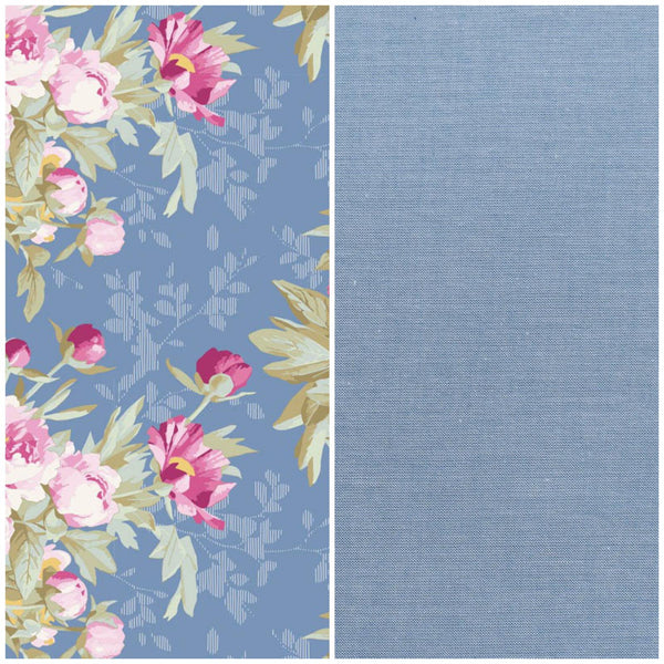 Tilda Woodland 'Hazel Blue' & Blue Chambray 1/2m Duo