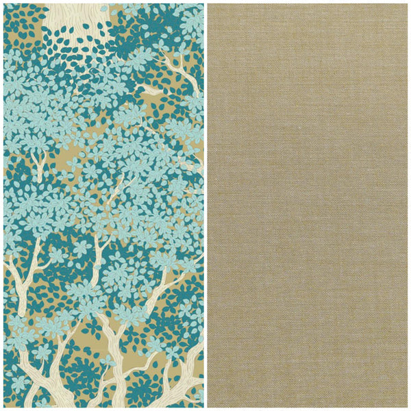 Tilda Woodland 'Juniper Teal' & Olive Chambray 1/2m Duo
