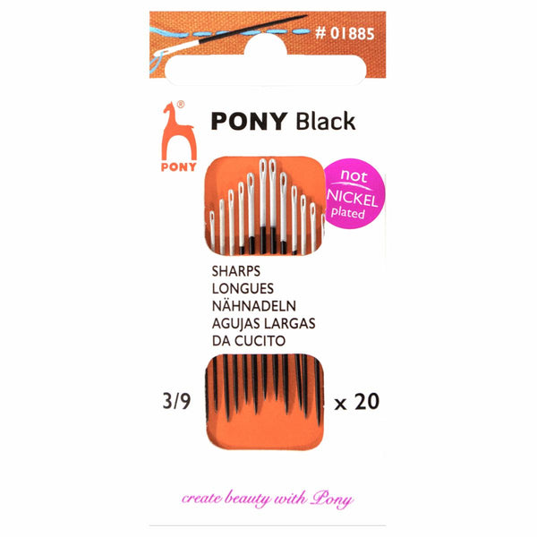 Pony Hand Sewing Needles: Sharps: Black with White Eye: Size 3/9
