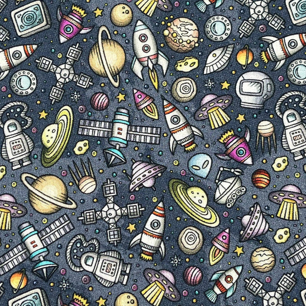 "60"" Wide 100% Cotton Print Backing Fabric: Space: Cut To Order by the METRE"