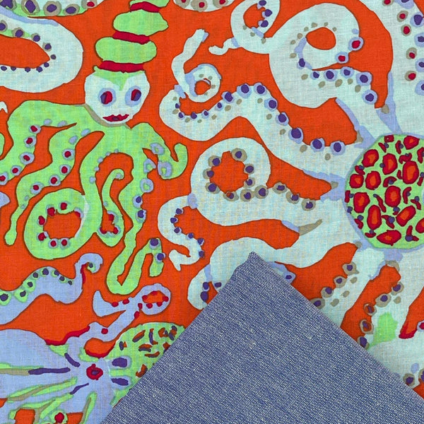 "Half Metre Heaven: Kaffe Fassett Collective 'Octopus' Orange with 58"" Wide Chambray"