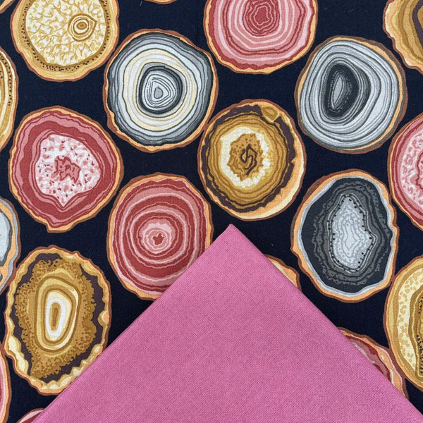 Half Metre Heaven: Kaffe Fassett Collective 'Geodes' Charcoal with Rose
