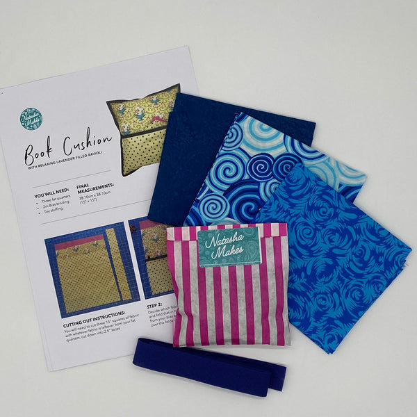 Philip Jacobs - Silk Road and Blue Batik Book Cushion Kit with Lavender Ravioli
