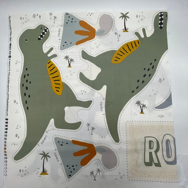 Riley Blake 'Green Fossil Rim 2' Dinosaur & Volcano Panel: 60cm length