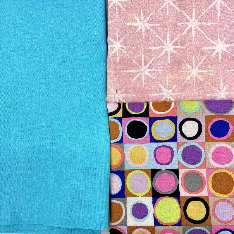 Fusion Friday: Kaffe Fassett Collective 'Tiddlywinks', Moda 'Seeing Stars' Duchess with Sky