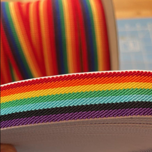 Elastic: Rainbow: 25mm: Cut to Order by the METRE