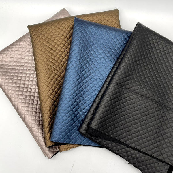Quilted PU: 4x Fat Quarter Bundle: Black, Navy, Copper, Champagne