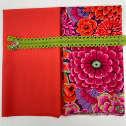 Lace Zip Pouch Kit: Kaffe Fassett Collective 'Enchanted' Rust, Hot Tomato & Apple Zip