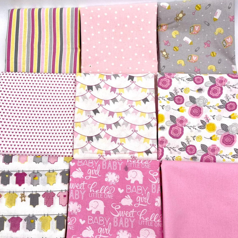 Baby Fabric 9x FQ Bundle: Pink/Grey/Yellow