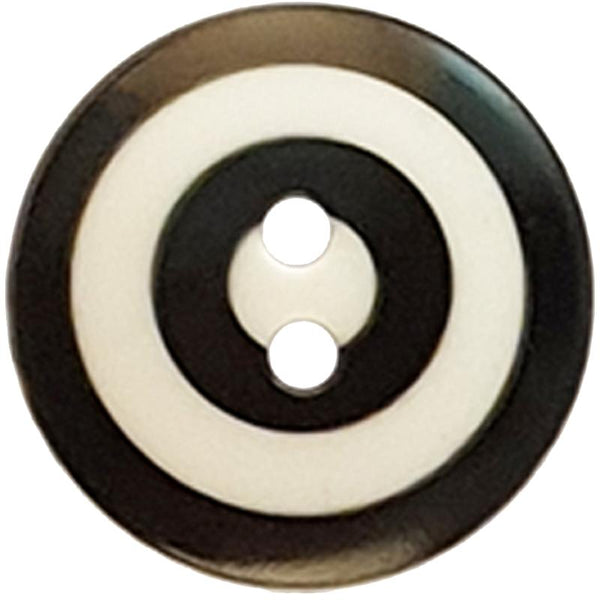 "Kaffe Fassett Collective: 20mm ""Target"" Button 300981: Black/White"