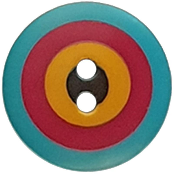 "Kaffe Fassett Collective: 20mm ""Target"" Button 300982: Blue/Red/Yellow/Black"