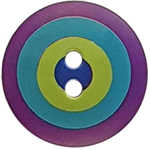 "Kaffe Fassett Collective: 20mm ""Target"" Button 300983: Violet/Blue/Green/Navy"