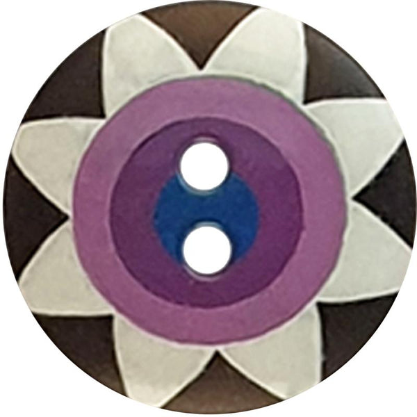 "Kaffe Fassett Collective: 20mm ""Star Flower"" Button 300989: Black/White/Purple/Violet/Navy"