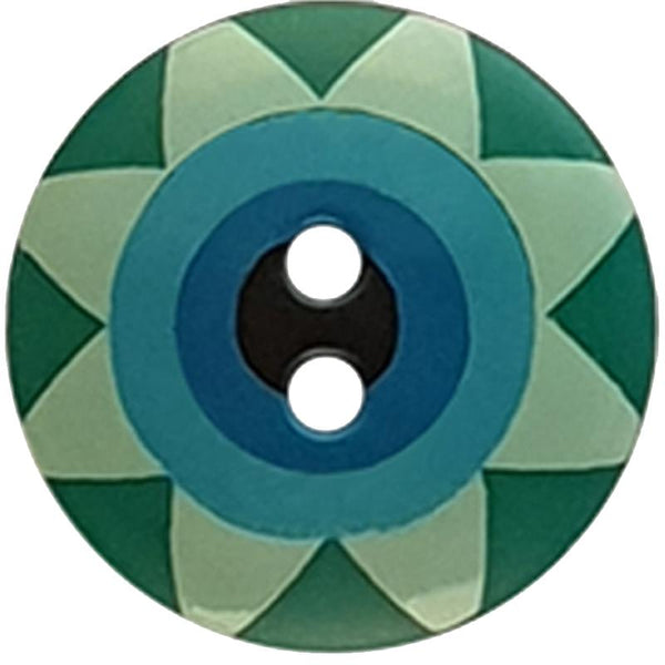 "Kaffe Fassett Collective: 20mm ""Star Flower"" Button 300992: Green/Light Green/Light Blue/Blue"