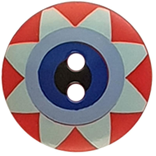 "Kaffe Fassett Collective: 20mm ""Star Flower"" Button 300993: Red/Light Blue/Blue/Navy/Black"