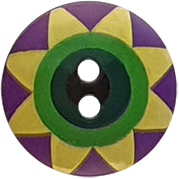 "Kaffe Fassett Collective: 20mm ""Star Flower"" Button 300990: Violet/Yellow/Green/Dark Green/Black"