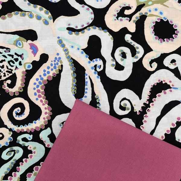 Half Metre Heaven: Kaffe Fassett Collective 'Octopus' Black with Rose