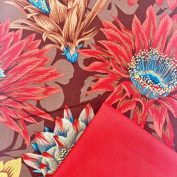 Half Metre Heaven: Kaffe Fassett Collective 'Cactus Flower' Brown with Paprika