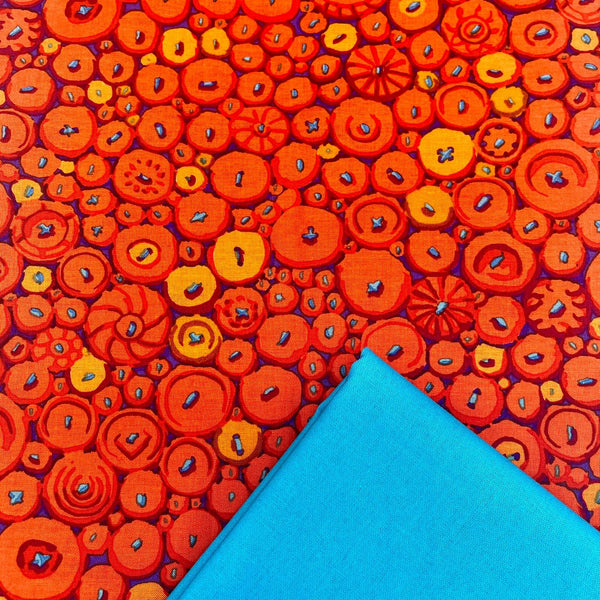 Half Metre Heaven: Kaffe Fassett Collective 'Button Mosaic' Orange with Peacock