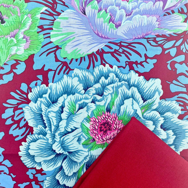 Half Metre Heaven: Kaffe Fassett Collective 'Brocade Peony' Cool with Crimson