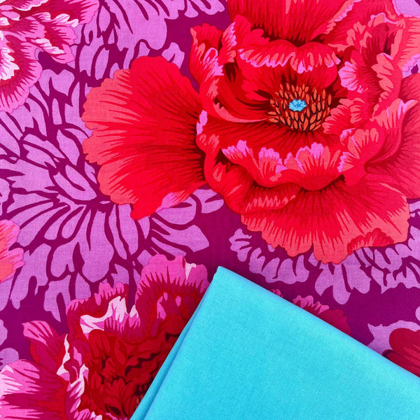 Half Metre Heaven: Kaffe Fassett Collective 'Brocade Peony' Hot with Sky