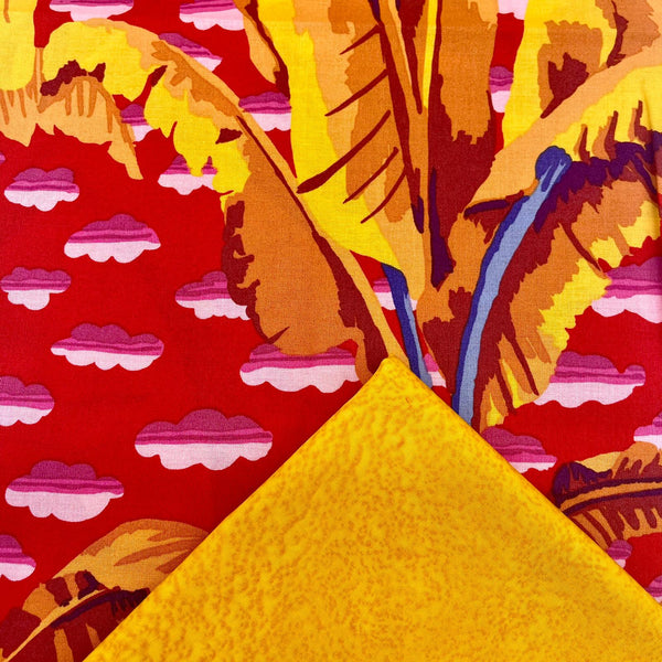 Half Metre Heaven: Kaffe Fassett Collective 'Banana Tree' Red with Gold Salt Batik