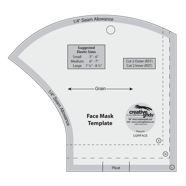 Creative Grids Non-Slip Face Mask Template 3 Sizes in 1 - CGRFACE