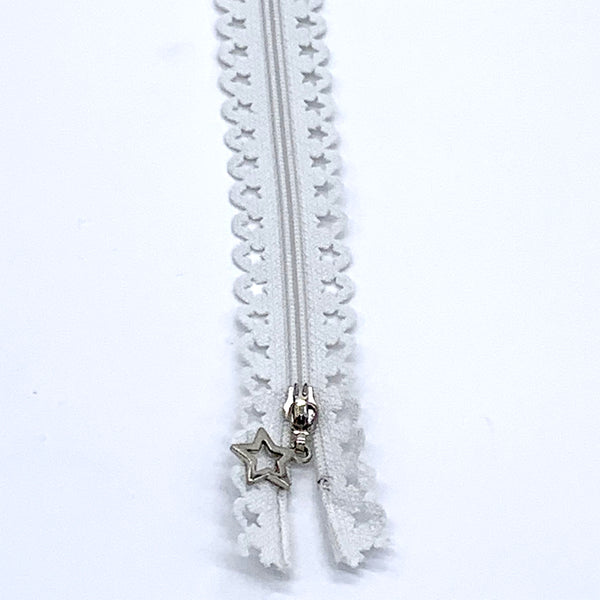 Lace Zip with Star Detail 25cm - Off White