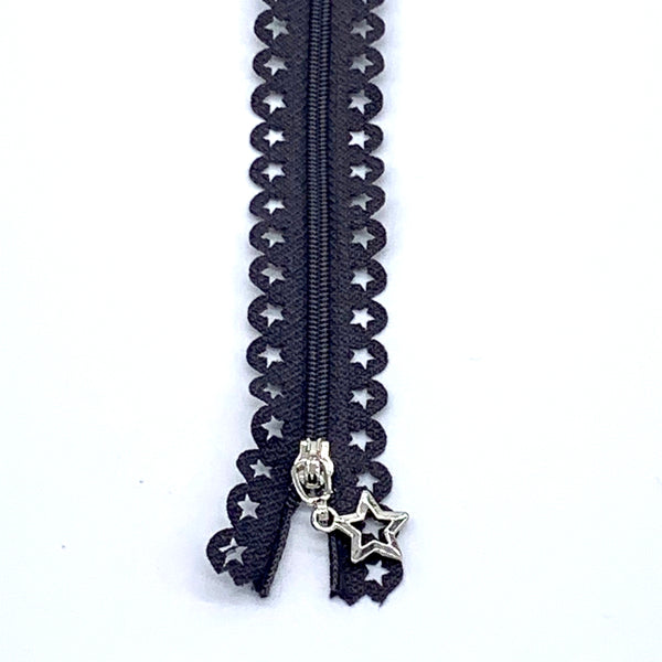 Lace Zip with Star Detail 25cm - Dark Grey