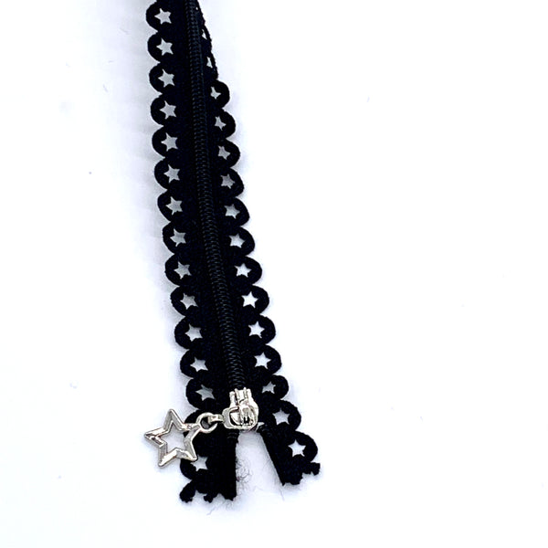 Lace Zip with Star Detail 25cm - Black