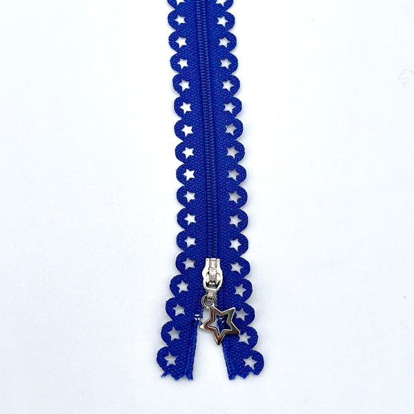 Lace Zip with Star Detail 25cm - Blue (Royal)