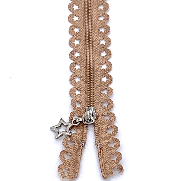 Lace Zip with Star Detail 25cm - Taupe