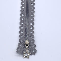Lace Zip with Star Detail 25cm - Mid Grey