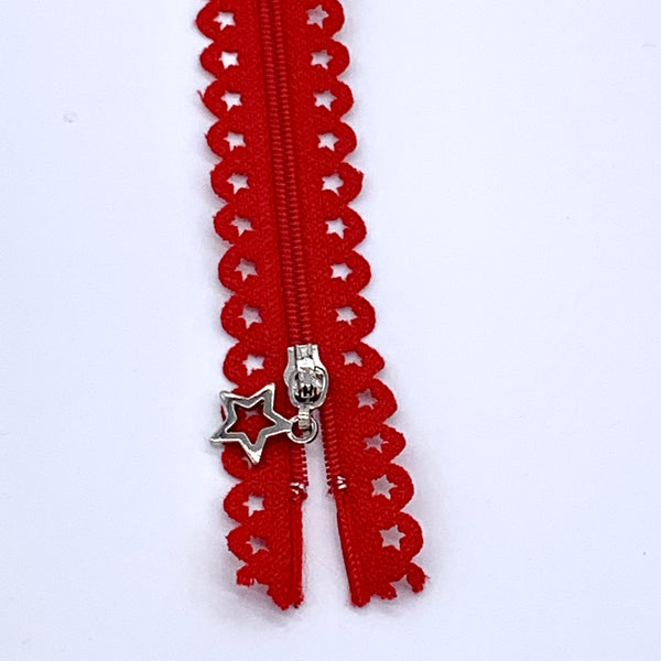 Lace Zip with Star Detail 25cm - Red